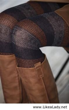 brown, gray and black striped warm tights with boots