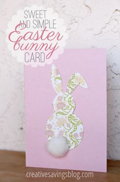 Announce the arrival of Spring with this super simple Easter bunny card. Use a Silhouette, or make your own template, print out one of our patterns and cut out a cute Easter shape! http://cutcaster.com/lightbox/3142-Patterns/
