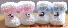 Cutie booties free crochet pattern from http://www.patternsforcrochet.co.uk/cutie-booties-usa.html #freecrochetpatterns #patternsforcrochet