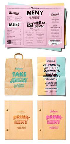 Calexico's menu graphic design, menu design, logo, pastel, identity branding, bag design, print, food menu, restaurant branding