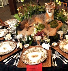 Tablescapes can make your guests feel really special - that you took the time to set the table in their honor or for their pleasure. Look around you house and be creative; mix and match burlap with British silver; add flowers, collectible items, favorite linens, etc.
