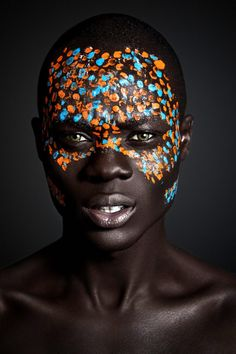 #1A) simple interesting face paint we would wear for indoor setup.  more posed portait shots of individual and all of us portait photography, color, interesting face, simple tribal face paint, paint shoot, dot