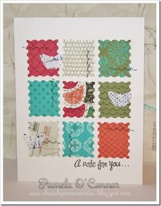 Card using new Stella paper (CTMH) and Art Philosophy Cricut Cartridge (CTMH) - what a great way to use up scraps! by jewel