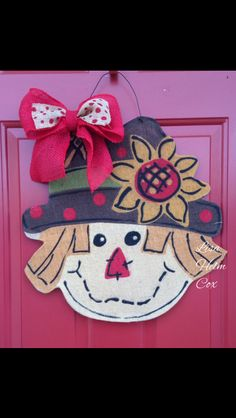 Fall Scarecrow Burlap Door Hanger, with sunflower & red burlap bow