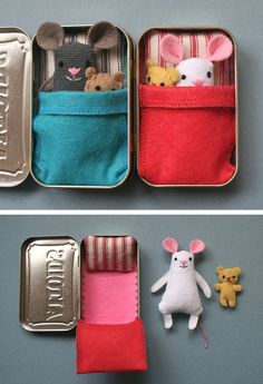 Wee Mouse Tin House: A little metal box full of cute wee mice! Make a tiny friend from scraps and take it with you wherever you go! This wee little mouse is designed to fit inside an empty Altoids® tin and will fit easily in your purse. Can be made for a girl or a boy, depending on the colors you choose.