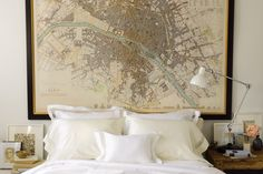 Paris map headboard