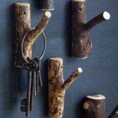 DIY~ Simple Twig Hook :: Hang mason jar lights, little flower pots, wreaths etc.. lots of possibility's .