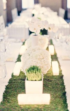 """organic"" runner for your #wedding tables - very cool idea"