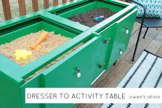Dresser turned Sensory Activity Table