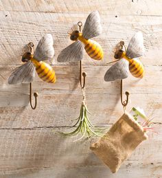 Handcrafted Bee Hooks, Set of 3 - LOVE these!