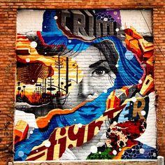 "Tristan Eaton ""Crime Fighter"" New Mural - Detroit, Michigan #ravenectar #streetart #art #graffiti"
