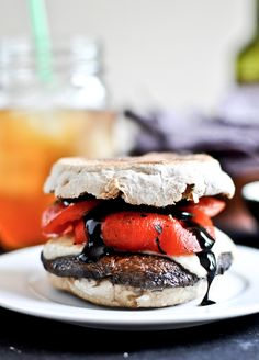 Asiago Portobello Burgers with Roasted Red Peppers + Balsamic Glaze | howsweeteats.com