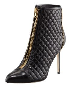 Quilted Zip-Front Leather Ankle Boot, Black by Brian Atwood at Bergdorf Goodman. Very nice Chanel-like look ! zipfront leather, ankle boots, ankl boot, brian atwood, leather ankl, fall fashion, quilt zipfront, shoe, black