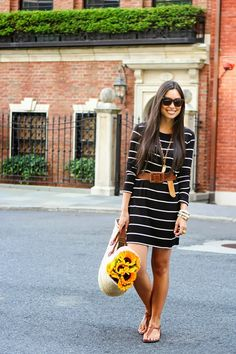 simpl stripe, style, dresses, outfit, flat sandals