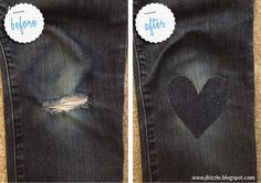 Put a heart on it. How to mend a hole in your jeans. Makes that ugly patch look cute!