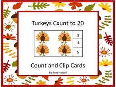 Thanksgiving: Thanksgiving is the time for giving thanks for our blessings. It is also turkey time. Students can practice their counting skills with this Turkey Count To 20 Count and Clip Cardsmath center activity. Students will count the turkeys and clip a clothes pin on the correct number.   Print out the pages, laminate, and cut out the count and clip cards.  You will need 20 clothespins for this activity.