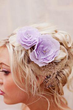 Lavender wedding hair flower head piece   bridal by florabond, $129.00