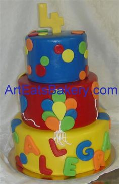 Google Image Result for http://arteatsbakery.com/images/Three%2520tier%2520fondant%2520custom%2520kids%2520birthday%2520cake%2520with%2520polka%2520dots,%2520balloons,%2520the%2520birthday%2520girls%2520name%2520and%2520a%25204%2520topper.jpg
