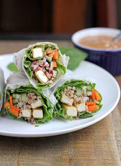 Tofu Quinoa Fresh Rolls With Easy Peanut Sauce #glutenfree #vegan