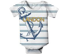 Anchor Baby Onesie, Personalized Navy Nautical Stripe Infant Boy's Outfit