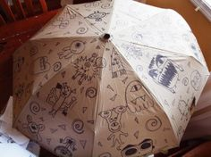 Monster Mashup, Classroom Art Umbrella...for a school auction teacher gifts, school auction, monster mashup, gift ideas, kid art, kid umbrella auction art, art umbrella, umbrella art, school fundraisers