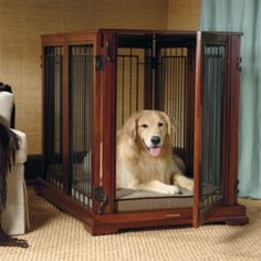 3-in-1 Convertible Pet Residence  This great furniture system converts from a residence to a standalone pet bed to a stand alone adjustable 6 Panel Pet Gate