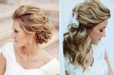 Potential hairstyle on the right! romantic hair, hair wedding, wedding hairs, bridal hair, bridal parties, bride, soft curls, wavy hairstyles, updo
