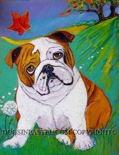 English Bulldog art painting autumn leaves english by dogsinpastel, $45.00
