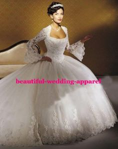 2 Meters Trailing Long Sleeve Lace Modest Bridal Wedding Dress Wedding Ball Gown (D2345)