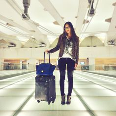 @Aimee Song in Hudson's Shelby Moto with Quilted Leather Panels. #AirportFashion