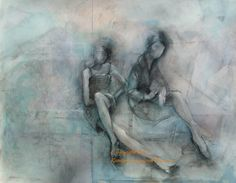 Fine Art Print of Painting in Silver and Blue  by Krystyna81,