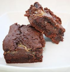 Cake Mix Brownie  ~Preheat oven to 350. Combine 1 pkg chocolate cake mix and 1 C chopped nuts. Stir in 2/3 C evaporated milk and 1/2 C melted butter. Spread half in ungreased 13 x 9 pan. Bake 15 mins. Heat 10oz caramels and 1/3 C evaporated milk over low heat, stirring constantly, till melted. Sprinkle 2 C chocolate chips over brownie; drizzle with sauce. Drop remaining batter by tsp over all. Bake 25-30 mins till center is set. Cool on wire rack.