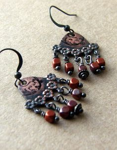 Joan Williams of Lil Ruby at Etsy made these cool danglers from our Rusty Black stampings, see more at bsueboutiques.com