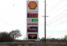 Hy-Miler Shell Station. Third party install for Federal Heath. Main ID sign, Gas Pricer Digits and Daktronics EMC.