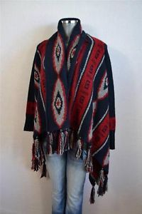 Zara Knit Navy Indian Blanket Fringed Drape Navajo Cardigan Sweater M | eBay