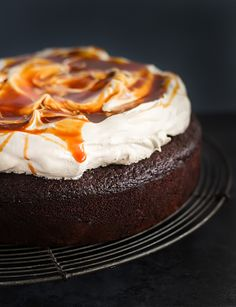 Chocolate buttermilk cake with Earl Grey icing & salted caramel