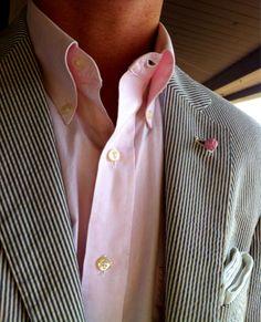 green seersucker jacket with a pink button down