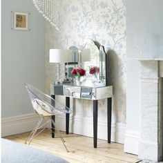 Pastel bedroom dressing table- image- housetohome.co.uk vaniti, blue walls, mirrored furniture, chairs, bedroom wallpaper, wallpapers, hous, blues, modern bedrooms
