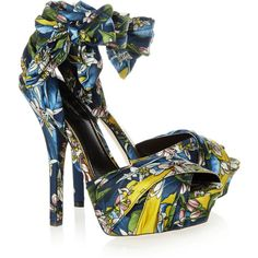 Dolce & Gabbana Printed satin sandals ($995) ❤ liked on Polyvore