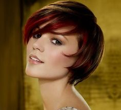 short layered bob, just change the red to blonde or have it blonde hair with brown under