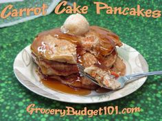 Carrot Cake pancakes are a hearty (but dense) pancake that is loaded with healthy carrots, pineapple, raisins, nuts and spice. They can be made ahead and frozen for those busy school mornings.