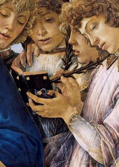 Sandro Botticelli Detail of Maria with the Child and Singing Angels, c.1477, tempera on wood,Gemäldegalerie,Berlin, Germany.