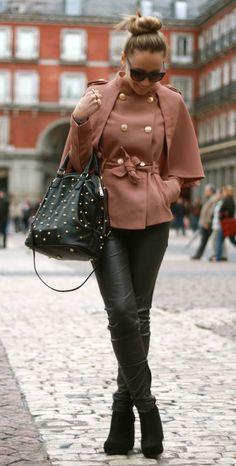 Leather skinnies, blush coat