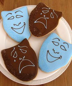 Broadway Theme Comedy Tragedy Mask Cookies $3.99