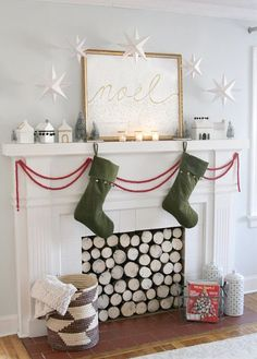 holiday, paper stars, faux fireplace, mantel, christma decor, printabl paper, papers, christmas decorating ideas, christmas mantles