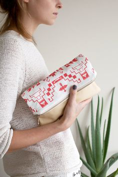 Tribal Pattern Printed Leather Pouch Coral red No. by CORIUMI