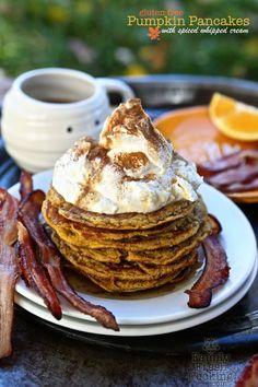 Pumpkin Pancakes with Spiced Whipped Cream | FamilyFreshCooking.com #glutenfree