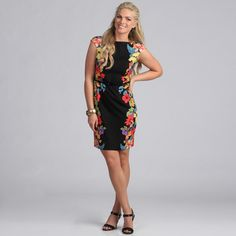 @Overstock.com - This gorgeous floral sheath dress by London Times gives you a fun, yet elegant look with a high waist belt, high neck line and capped sleeves. The black background of this dress makes the floral print pop out and shapely brings everyone together.http://www.overstock.com/Clothing-Shoes/London-Times-Womens-Floral-Belted-Sheath-Dress/7866978/product.html?CID=214117 $49.99 floral sheath, floral prints, belt sheath, gorgeous floral, dresses, sheath dress, waist belt, floral belt, london time