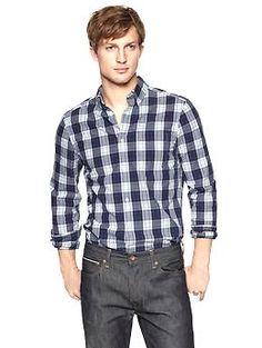 Lived-in wash plaid shirt | Gap