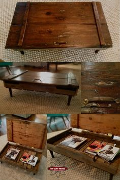 door on top of a pallet to make coffee table